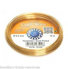 GRIFFIN GOLD PLATED CRAFT JEWELLERY WIRE STRINGING BEADING 0.60mm - 10m LONG