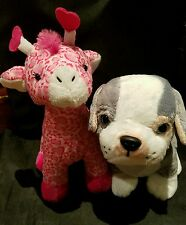 JANUARY Webkinz PLUSH ONLY LOT of 2 : PITBULL PUPPY + LOVE GIRAFFE - JUST PLUSH
