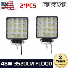 2X 48W LED Work Light Flood Light Off Road RZR Car Boat Jeep Truck Suv 12V 24V