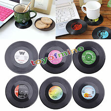 6PCS rotonda Vinyl Record Coaster Coppa bevande Holder Mat da tavola Placemat