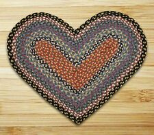 HEART JUTE BRAIDED RUG By EARTH RUGS IN BURGUNDY, BLUE AND GRAY