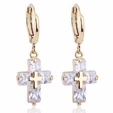 1Pair 18k Gold Plated Hoop Dangle Earrings White Cross Zircon 3.0x1.1cm K84858