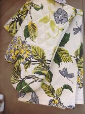 APRIL CORNELL TEA TOWEL OVEN MITT POT HOLDER GRAY GREEN YELLOW FLORAL   NWT