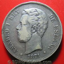 SPAIN 1871 (71) SD-M 5 PESETAS SILVER AMADEO I SPANISH COLLECTABLE CROWN 37mm