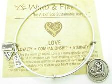 Wind and Fire Love Heart Charm Wire Bangle Stackable Bracelet Made USA Gift New