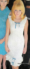 Vintage 1960s CROCHET PATTERN Dress Frock Ladies White Bow Frills B 83-87-95 cm
