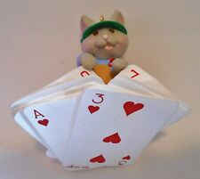 "1997 Hallmark Keepsake Ornament ""What a Deal!"" Cat playing Cards MIB"