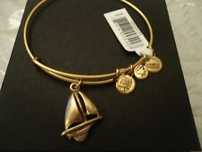 Authentic and Alex an Ani SAILBOAT Russian Gold Charm Bangle NWT CARD and BOX