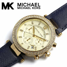 Michael Kors MK2280 Parker Chronograph Gold-tone Navy Leather Watch