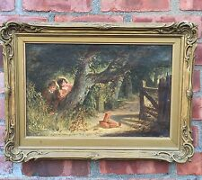 Superb Liverpool England Oil Painting Signed Henry Shirley. Bird Trapping. C1865