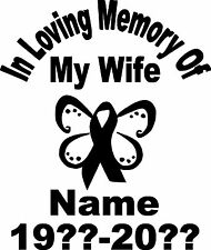 IN LOVING MEMORY WIFE PERSONALIZED CUSTOM VINYL DECAL BUMPER STICKER CAR TRUCK