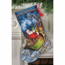 COUNTED CROSS STITCH Christmas Stocking KIT Santas Flight Dimensions Gold 16""