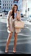 Zara Fawn Nude Beige in pelliccia sintetica Cappotto Giacca M Medium