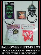 HALLOWEEN DECORATION / PROPS LOT: 2 DOOR KNOCKER, WEBS, BLOOD GEL, PARTY CD NEW
