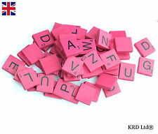 100 COLOURED Wooden Scrabble Tiles Mix Letters Varnished Alphabet Scrabbles PINK