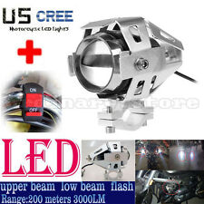 Silver 125W Motorcycle CREE U5 LED Headlight Driving Fog Light Spot Lamp +Switch