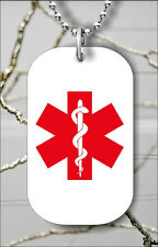 MEDICAL ALERT DOG TAG PENDANT NECKLACE FREE CHAIN -m34t