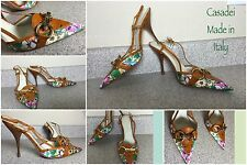 New Casadei Made In Italy Floral Print Brown Leather Sling Back Shoes Sz10/40