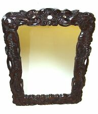 Stunning Antique Chinese Hardwood Dragon Carved Wall Mirror (a46)