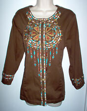 BOB MACKIE TUNIC TOP SIZE LARGE MULTI COLOR EMBELLISHED NEW LOW SHIP