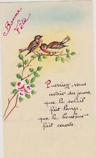 JOLIE IMAGE PIEUSE HOLY CARD SANTINI/peinte à la main -OISEAUX/ROSIER/Bonne Fête