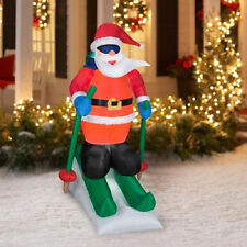 LIGHTED ANIMATED SKIING SANTA CHRISTMAS AIRBLOWN INFLATABLE OUTDOOR DECOR