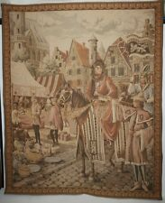 Antique Medieval Tapestry Prince/Nobleman on his warhorse & his Squire alongside