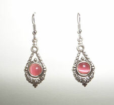 VICTORIAN STYLE GARLAND PINK GLASS DARK SILVER PLATED DROP EARRINGS HOOK