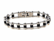 Fashion Silver Black Stainless Steel Motorcycle Bike Chain Bangle Cuff Bracelets
