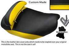 YELLOW & BLACK CUSTOM FITS PIAGGIO HEXAGON 125 DUAL LEATHER SEAT COVER