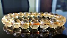 "Pure Brazilian CITRINE bead bracelet for MEN (Stretch) AAA 10mm - 8.25"" GOLD"