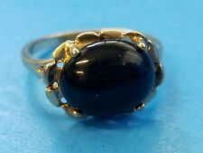 STERLING SILVER 925 ESTATE UTC Womens Gold VERMEIL Round Onyx RING SIZE 5.75