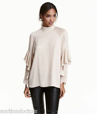 H&M NWT Trend A-LINE Ruffles Tier Layer Beige Blouse Top SZ 14 hip blog shirt