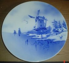 Massive Delft ? Hanging Wall Plate Windmill Blue And White