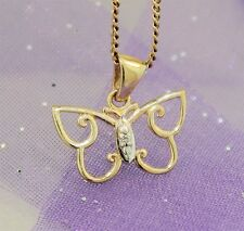 """9K GOLD DIAMOND SET BUTTERFLY PENDANT"" Guaranteed Genuine 9K Yellow Gold"