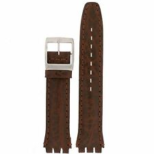 Watch Band to Fit Swatch Brown Italian Leather Strap 19mm