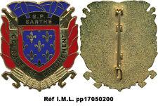SAPEUR POMPIER, SARTHE, Département, monobloc, dos grenu plat Sans (3293)