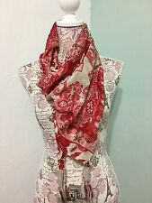 Women's JOHNNY WAS signature 100% Silk Red & White Floral With tassels Scarf