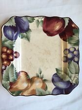 Noble Excellence Napa Valley square salad plate 9 inch Fruit Apples Grapes Beige