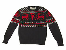 Polo Ralph Lauren Black Red Fair Isle Reindeer Cotton Cashmere Sweater Large