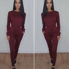 Womens Off Shoulder Long Sleeve Loungewear Set Sweater Party Jumpsuit Tracksuits