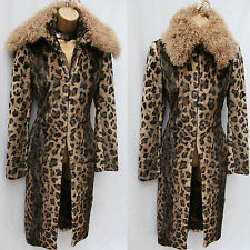 KAREN MILLEN Faux Fur Leopard Print Soft Long Posh Mac Trench Coat Jacket 8 UK