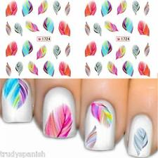 Nail Art Water Decals Transfers Stickers Neon Coloured Feathers Gel Polish 1724