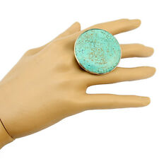 Fashion Tibetan Vintage Silver Plated Big Round Turquoise Gem Ring Adjustable