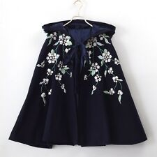 1pc Vintage Style Women Floral Embroidered Blue Cloak Lolita Hooded Cape Coat