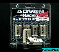 4X ADVAN RACING WHEELS NUTS 17HEX M12 P1.5 (12X1.5) CG JDM YOKOHAMA NEW Z8634