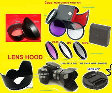 CAMERA LENS ADAPTER+FILTER KIT+HOOD+CAP 72mm AptTo FUJI S1600 S1700 S1730 S1770+
