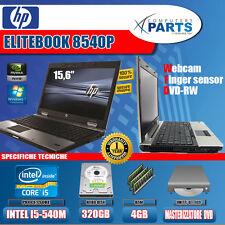 "HP EliteBook 8540p Intel Core i5-m540 2.66ghz 4gb 320gb 15.6"" NVIDIA win7 Laptop"