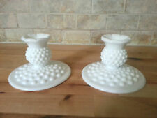 Vintage Milk Glass Hobnail Candle Holders, Lot of 2