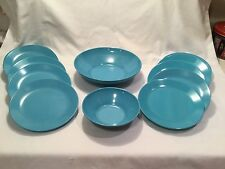Vintage ~ 12 Pieces ~ Turquoise Melamine/Melmac ~ Serving Dish/Bowl/Small Plates